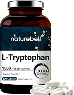 Maximum Strength L Tryptophan Capsules, 1500mg Per Serving, 200 Counts, Supports Restful Sleep and Relaxation, Non-GMO