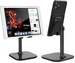 Cell Phone Stand,Phone Holder for Desk Adjustable Tablet Stand Compatible with iPhone and All Smartphone (Black)
