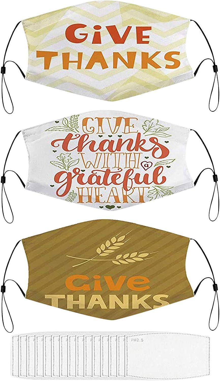 3PCS+15PCS Happy Thanksgiving Day Face Bandana Washable Reusable Novel Turkey Print Bandana for Full Face Pro-tection