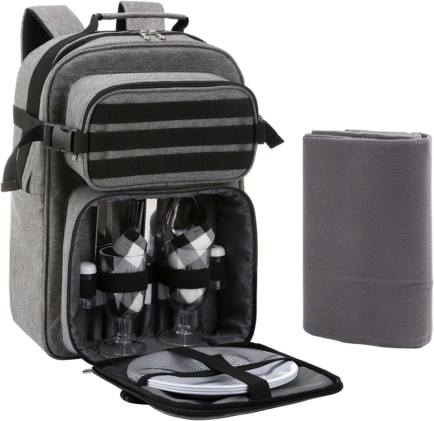 Vogano Picnic Backpack Cooler Bag for 2 Person Set with Insulated Compartment,Fleece Blanket,Cutlery Set,for Hiking Camping Tactical Outdoor : Patio, Lawn & Garden