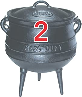 Best Duty Cast Iron Potjie Pot Size 2 - Include complementary Lid Lifter Knob ($9.95 value)