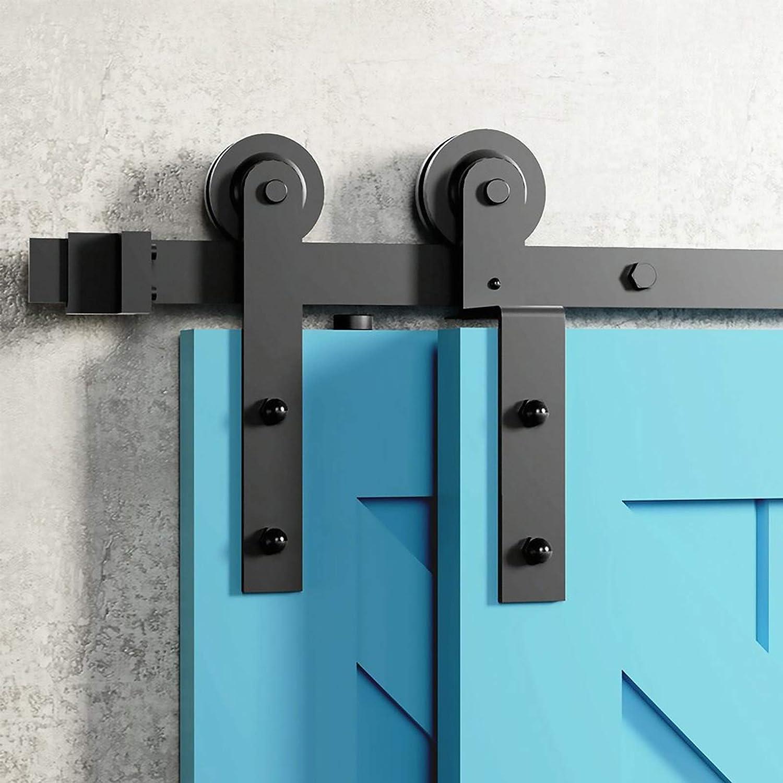 Herraje para Puerta Corredera Kit Kit de suspensi/ón doblada para riel de herrajes para puertas de granero corredizas 4ft-13ft riel /único accesorios de riel de silenc uso de puertas de madera dobles