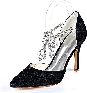 LGYKUMEG Escarpins Femme StrassBout Ouvert Pompes,Wedding Chaussures de Mariée Mariage,Chaussures de soirée élégantes à No...