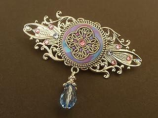 Fermaglio per capelli con ornamento in viola-blu-argento