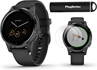PlayBetter Garmin vivoactive 4S (Slate/Black Band) Fitness Smartwatch Power Bundle | 2019 Model | with HD Screen Protectors (x4) Portable Charger | Spotify, Music, Garmin Pay, Menstrual Tracking