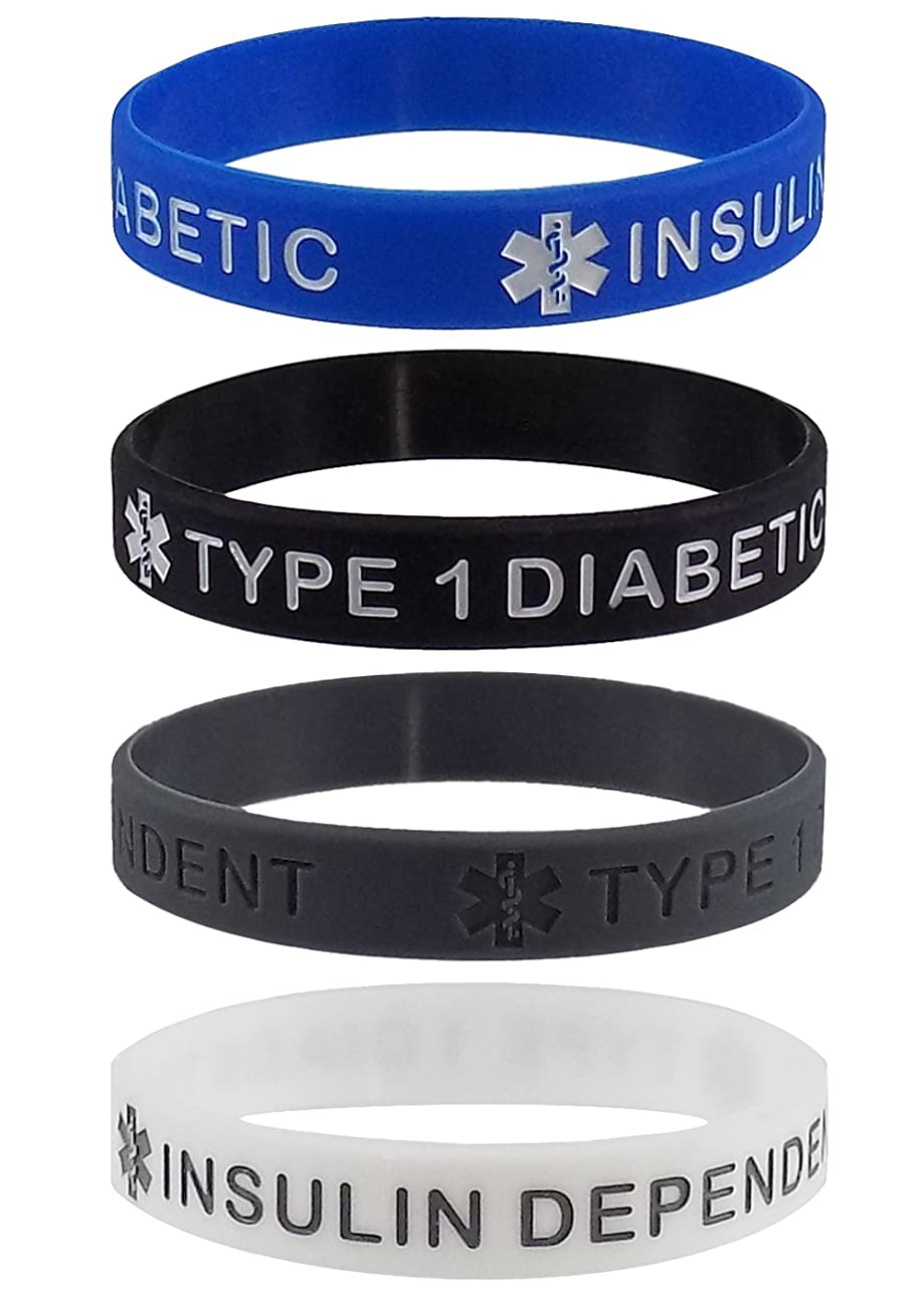 Max Petals Type 1 Diabetic Insulin Dependent Medical Alert ID Silicone Bracelet Wristbands
