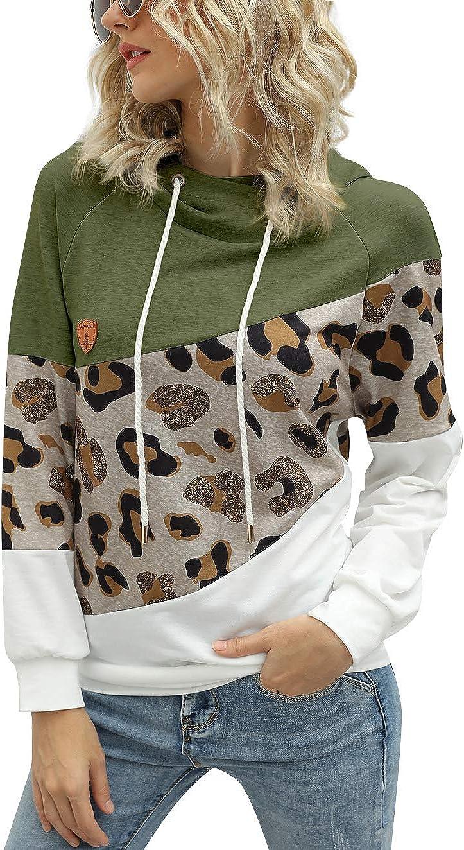 Womens Color Block Leopard Printed Hoodie Sweatshirt Cowl Neck Long Sleeve Drawstring Hooded Pullover Top
