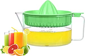WisyLLC Citrus Orange Lemon Squeezer, Manuel hand juicer with measuring cup and greater plastic 600ml (Green)