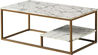 Versanora Marmo Coffee Table, Faux Marble/Brass