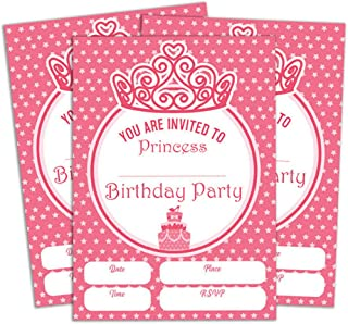 Darling Souvenir Pink Birthday Invitation Card Printable Fill or Write in Blank Invites Party Supplies Pack of 28 5 x 7 Inches