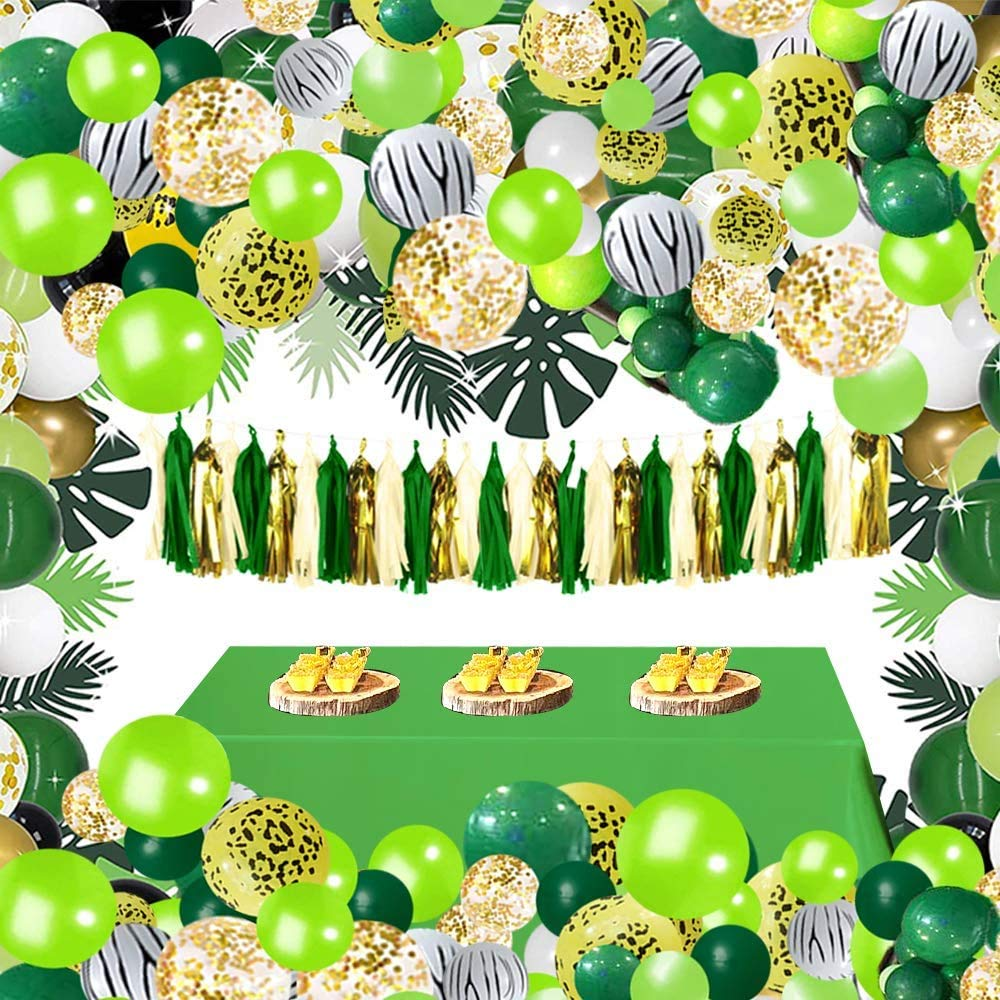 Zoo Theme w// Tassel Paper Pom Baby Shower Decorations Birthday Party Tablecloth