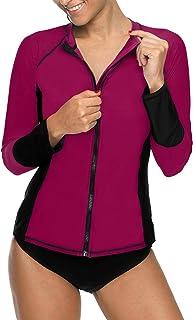 ALove Women's UPF 50+ Long Sleeve Rash Guard Colorblock Swim Shirts Printed UV Shirts