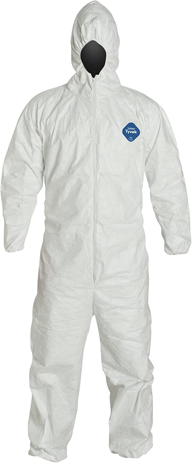 DuPont Tyvek 400 TY127S Protective Coverall with Hood, Disposable, Elastic Wrist, 2X-Large, White (Retail Package of 1): Protective Work And Lab Coveralls: Tools & Home Improvement