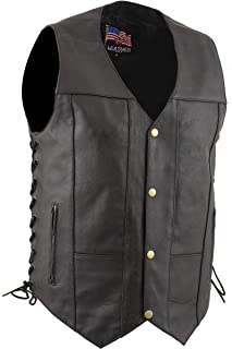 """USA Leather 1204""""Dime"""" Classic Leather Men`s Ten Pocket Vest with Side Laces"""