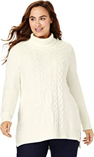 Woman Within Women's Plus Size Mixed Cable Cowlneck Sweater