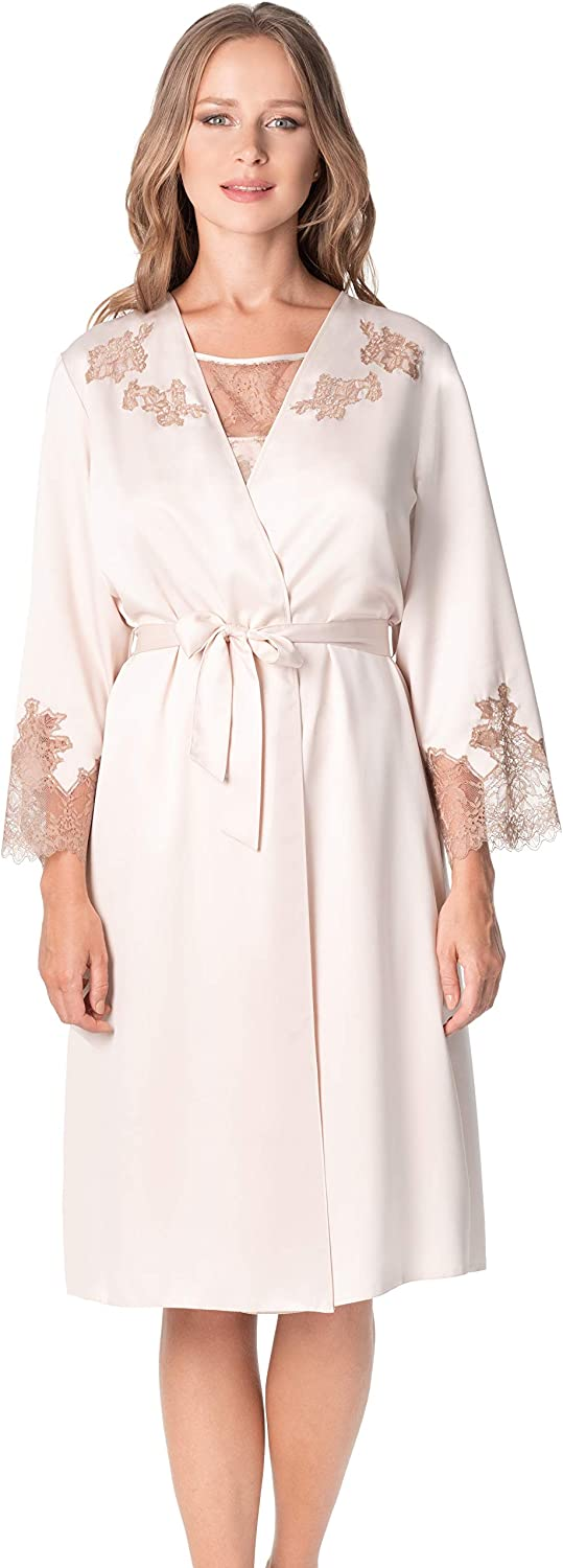 De La Ville Woman's Ibiza Knee Length Luxury Shiny Satin Kimono Robe with Lace Appliques and Cuffs on Long Sleeves