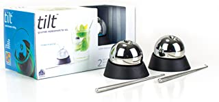6 Piece Premium Bar Set includes  2 Tilt Balls Reusable Stainless Steel Whiskey Stone Chilling Balls, 2 Silicone Base Holders and 2 Stainless Steel Hook/Garnishing Stick Reusable Ice Cubes for Parties