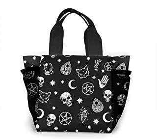 Lunch Box Skull Cat Moon Gothic Pattern Black Food Container Container for Men Women Adults, Work School Picnic BBQ Leakproof Lunch Holder Premium Totebox Portable Snack Bag