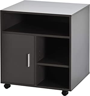 Support d'imprimante organiseur bureau caisson placard porte 3 niches + grand plateau panneaux particules gris