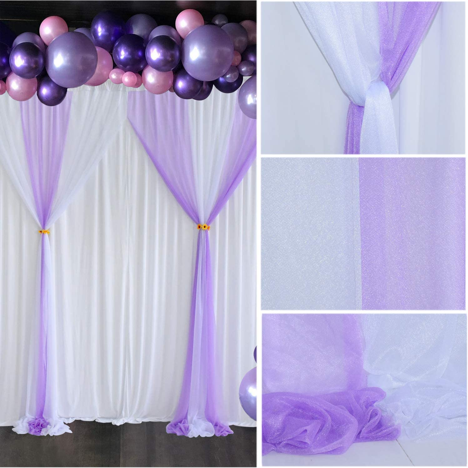White Pink Tulle Backdrop Curtain for Parties Wedding Baby Shower Birthday Party Bridal Shower Gender Reveal Photobooth White Chiffon Backdrop Panel Sheer Drape Backdrop Curtains 10 ft X 7 ft