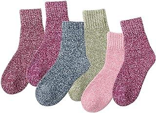 Gobesty, Calcetines cálidos para mujer, 6 pares de calcetines térmicos de invierno para mujer que absorben el sudor, ligeros, vintage, calcetines de lana suave para mujer