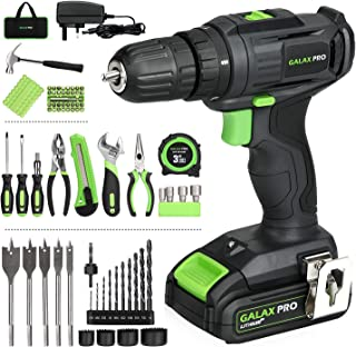Galax PRO Cordless Drill, 2-Speed Compact Drill, 20V Lithium-Ion Driver with 1.3 Ah Battery and Charger, 68 Pieces Accesso...