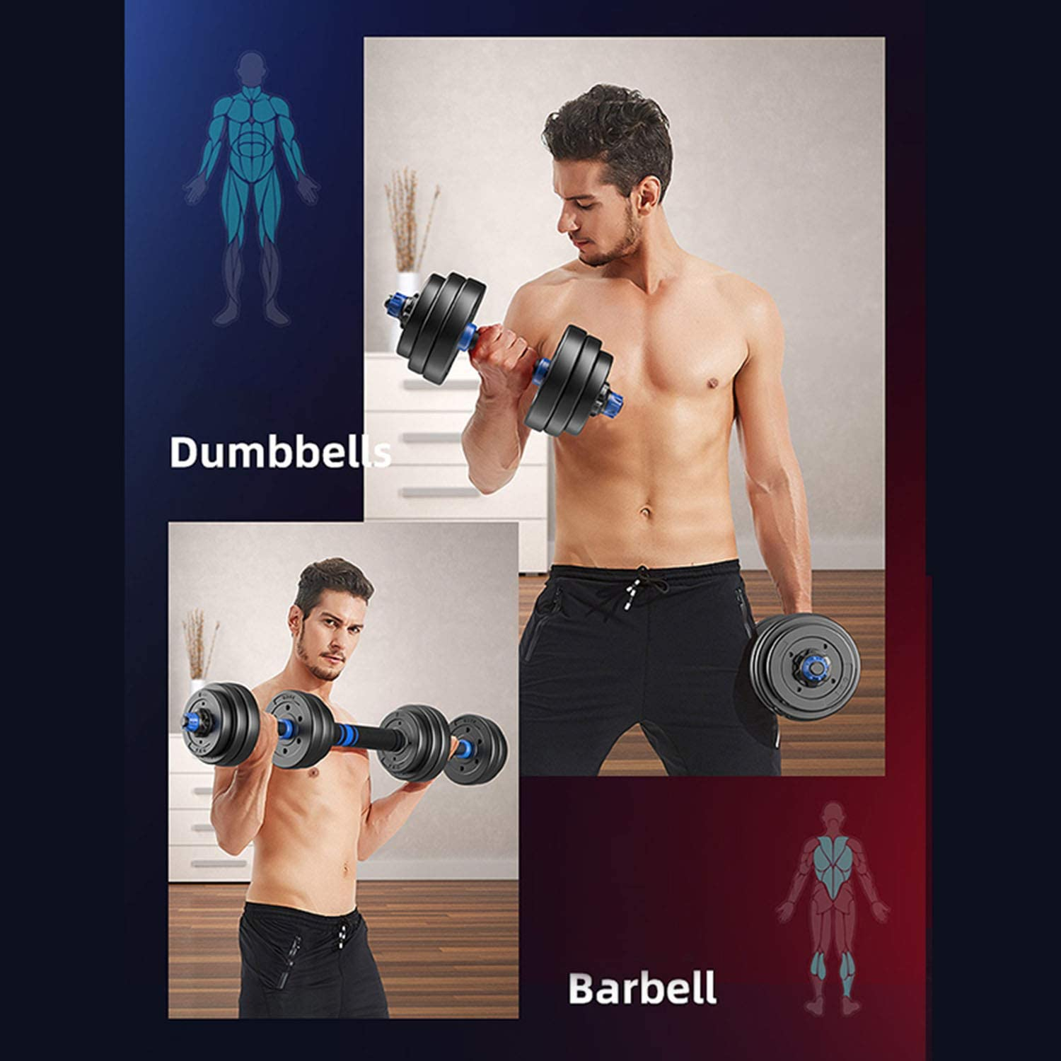 Fitness Dumbbells Set Free Weights Adjustable Weight to 20-80lbs Home Fitness Equipment for Men and Women Gym Dumbbell Sets 30,40,60,80lbs Suit