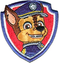 Iron on patches - PAW PATROL 'CHASE 2' - red - 7x6cm - by catch-the-patch Application Embroided patch badges