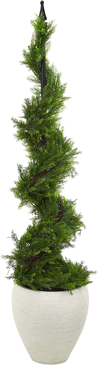 Free shipping Nearly Natural gift 4.5ft. Cypress Artificial Spiral White Pl Topiary