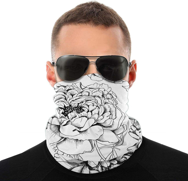1 Pack Fashion Face Black And White Rose Flower Bandana Neck Gaiter, Winter Reusable Washable Cloth Fabric Gaiter Scarf Motorcycle Bike Balaclava For Men Women