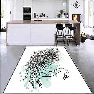 Dining Room Home Bedroom Carpet Floor Mat, Sketchy Swan Watercolors, Home Decor Foor Carpe 5`x6`