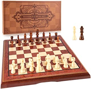 AMEROUS 15'' Magnetic Wooden Chess Set -Folding Board -2 Extra Queens -Chessmen Storage Slots -Gift Package, Travel Chess ...