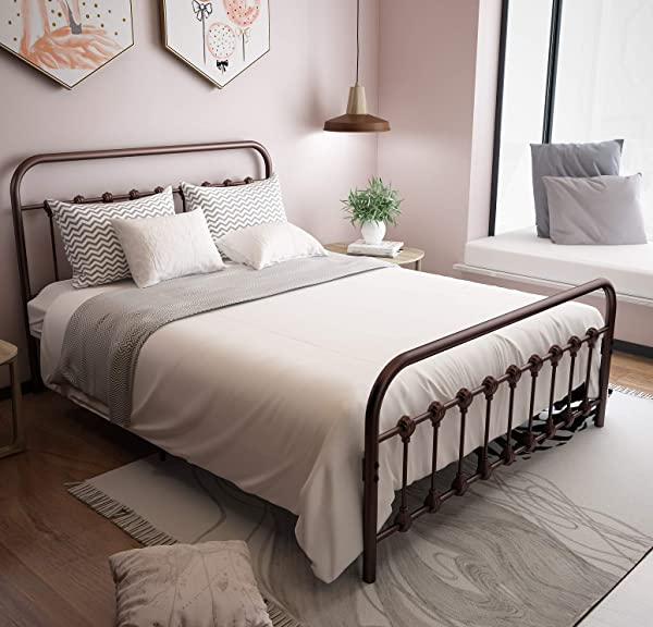 URODECOR Metal Bed Frame With Headboard And Footboard Mattress Foundation The Country Style Iron Platform Bed Antique Brown Queen Size