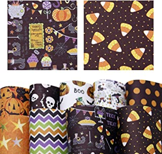 20cm x 34cm Perfect for Making Hair Bow Handbags Phone Cover Sewing Crafting Party Decor DIY Projects David Angie Halloween Theme Printed Synthetic Leather Canvas Back 9 Sheets 8 x 13
