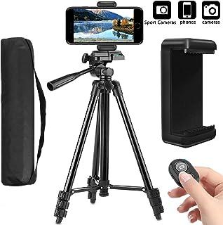 PEYOU Trípode Móvil (50 / 128 cm) 4 en 1 Trípode Cámara Réflex con Obturador Remoto Bluetooth Soporte de TeléfonoBolsa Trípode para iPhone SamsungHuawei DSLR Canon Nikon Sony