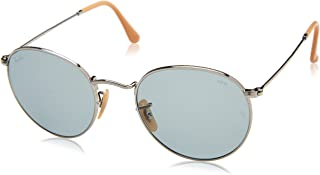 RB3447 Evolve Round Metal Sunglasses, Silver/Blue Photochromic, 53 mm