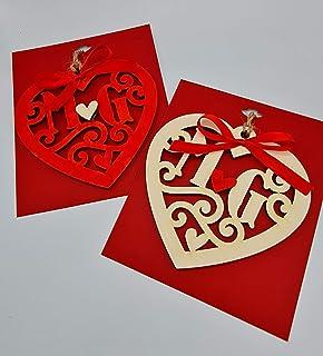 Cuore in legno inagliato con iniziali - San Valentino