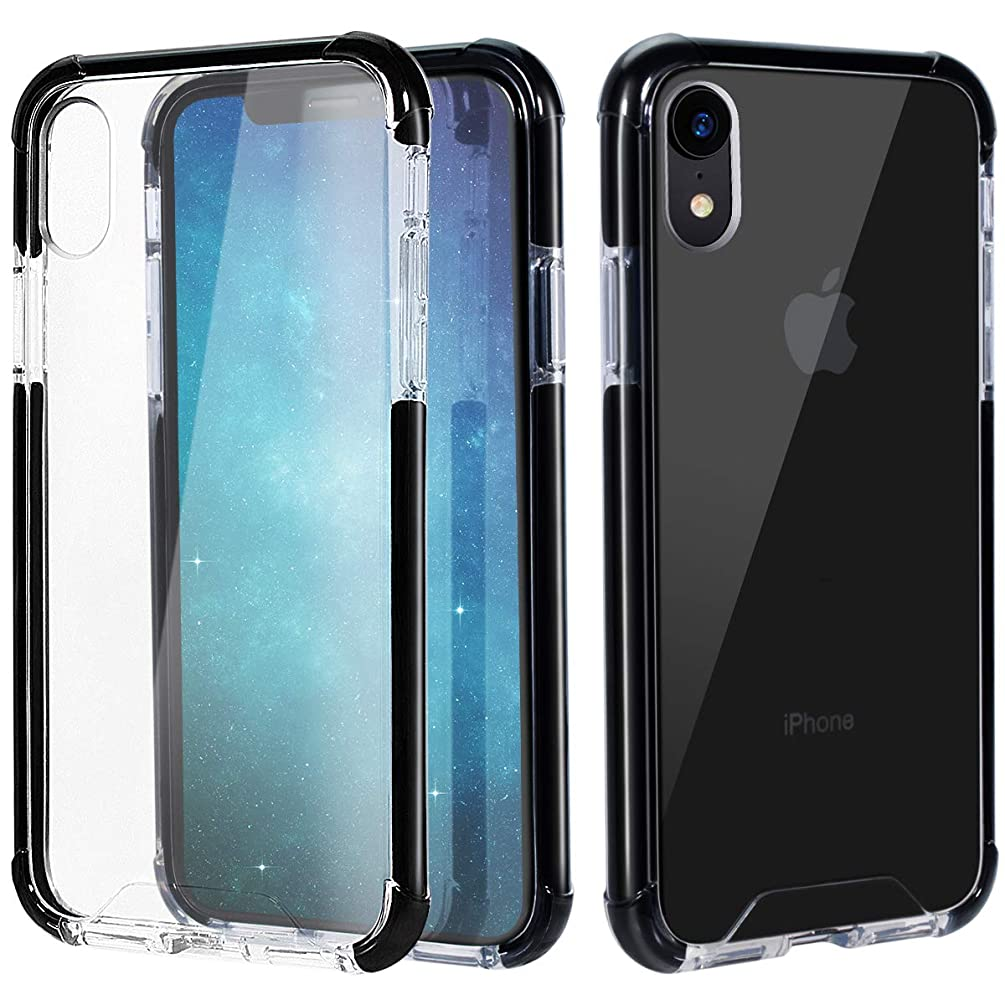 MATEPROX iPhone XR Case Clear Anti-Yellow Heavy Duty Bumper Protective Shockproof Case for iPhone XR 6.1''(Clear Black)