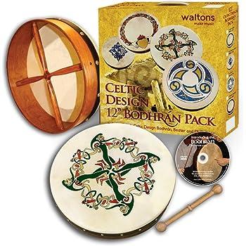 "Waltons Bodhrán 12"" (Clonmacnoise) - Handcrafted Irish Instrument - Crisp & Musical Tone - Hardwood Beater Included w/Purchase"