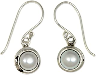 NOVICA Cultured Freshwater Pearl and Sterling Silver Bridal Dangle Earrings, Full Moon'
