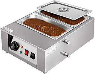 Happybuy 1000W Electric Chocolate Melting Pot Machine, 2 Tanks Commercial Electric Chocolate Heater,17.6LBS Capacity Therm...