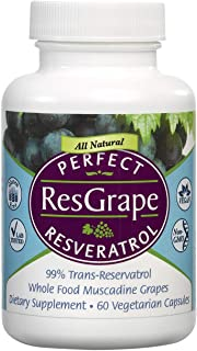 Perfect Resgrape Resveratrol Supplement - 200mg 99% Trans-Resvertarol - Made from Organic Muscadine Grapes - 60 Vegetable ...