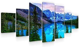 Startonight Grande Cuadro sobre Lienzo Paisaje de Montaña Azul, Impresion en Calidad Fotografica Enmarcado y Listo Para Colgar Diseño Moderno Decoración XXL Formato Multipanel 7 Piezas 100 x 240 CM