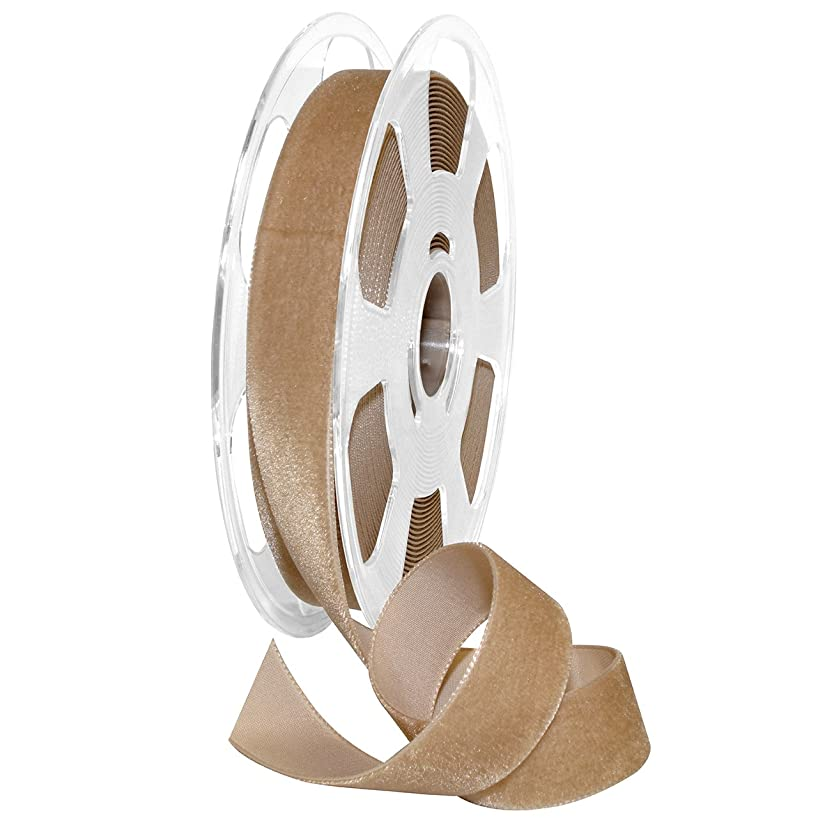 Morex Ribbon Nylon, 7/8 inch by 11 Yards, Earth, Item 01225/10-597 Nylvalour Velvet Ribbon, 7/8