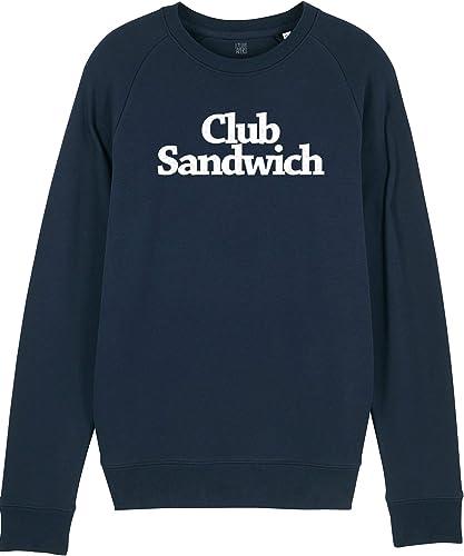 Sweat Club Sandwich - Marine - 85% Coton Bio - 15% Polyester - Imprimé en France - idéal Cadeau Homme Apéro Cuisine Bouffe Rigolo