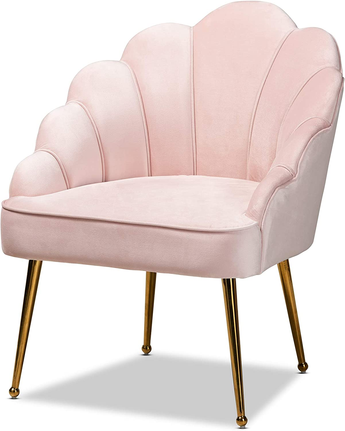 Baxton Studio Chairs Light OFFicial site Gold Pink Outstanding