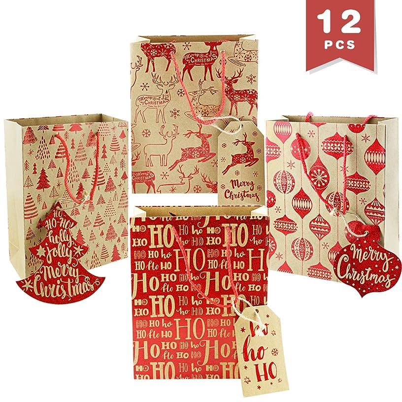 WTSHOP 12 Pack Printed KIraft Paper Bag,Red Christmas Holiday Party Gift Favor Treats Bags,Reindeer Pattern Kraft Rustic Gift Bags,4 Patterns