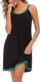 Women Cotton Sleeveless Tank Nightgowns Wide Strap Chemise Full Slip Sleep Dress
