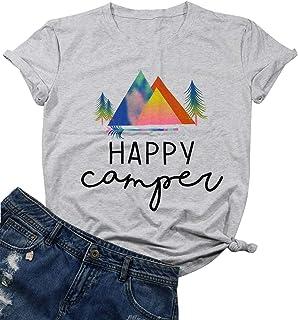 Happy Camper Shirt Top Women Happy Mountain Tree Print T-Shirt Short Sleeve Letter Printed T Shirt Tops