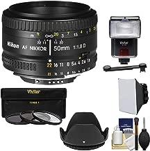 Nikon 50mm f/1.8D AF Nikkor Lens with 3 Filters + Hood + Flash & 2 Diffusers + Kit for D7100, D7200, D610, D750, D810 Cameras